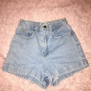 American Apparel denim high-waist cuff shorts